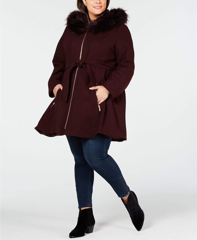 Laundry by Shelli Segal Plus Größe Faux Fur Hooded Belted Wool Coat - Plum - UK4X