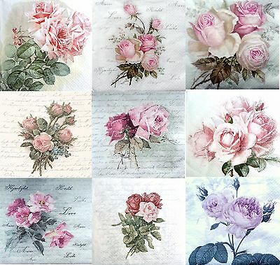 Paper Napkins  set of 9 - IDEAL - for Decoupage  - Roses- Sagen Decopatch