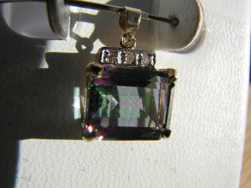 Mystic Topaz Emerald Cut & Diamond Pendant 10KT SOLIDYG