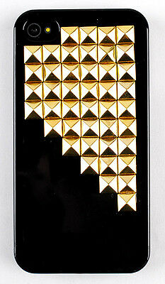 HOT Sale Fashion Dazzle Light Black Hard Case Cover Golden Stud for  iPhone 4 4s