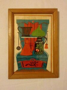 Image is loading Vtg-5-034-x-7-034-Kitchen-Scene- : kitchen framed art - hauntedcathouse.org