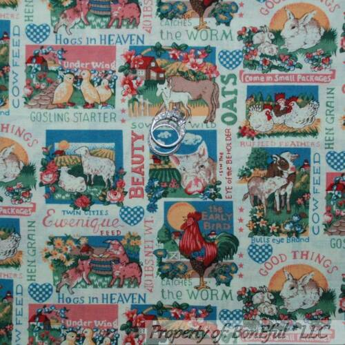 BonEful FABRIC FQ Cotton Quilt Baby Chick Lamb Bunny Pig Duck Goat Chick Rooster
