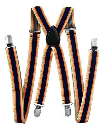 axy® Hosenträger-X Form 2,5cm breit mit Streifen-4 Clips EXTRA STARK-UNISEX