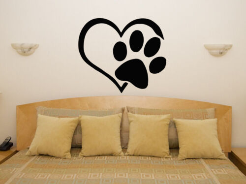 Wall Door Art Decal Sticker Picture Poster Heart Paw Love Animal Pet Print