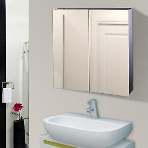 Details zu HOMCOM LED Spiegelschrank Badspiegel Schrank Badezimmer 60x60cm  Edelstahl