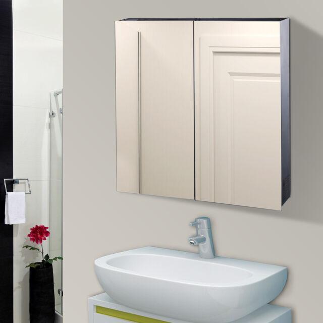 Homcom LED Spiegelschrank Badspiegel Schrank Badezimmer 60x60cm Edelstahl