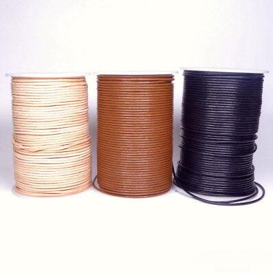 Länge: wählbar Weiß Lederband ab 0,43€//m Rund 2 mm Lederschnur