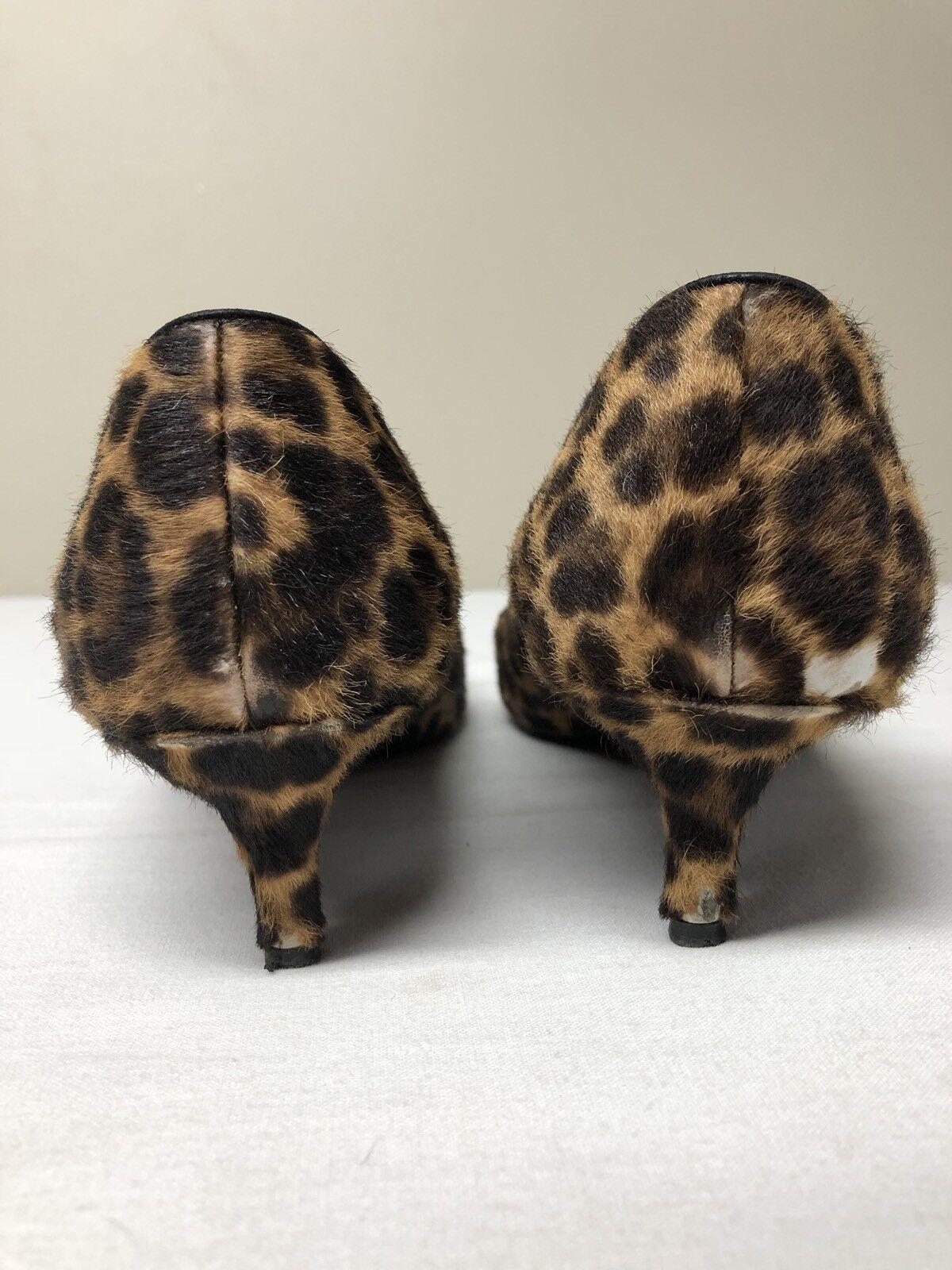 Prada Toe Leopard Calfskin Pointed Toe Prada Kitten Heel Pumps EU 37 US 7 cbb9be