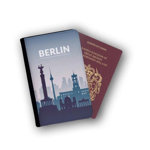 Berlin capitale de l/'Allemagne histoire Passport Wallet Travel protection Flip cover case