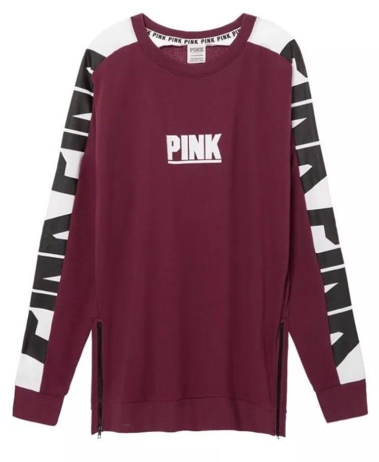 Victoria's Secret Pink Oversize Varsity Sweatshirt Side-Zip Burgundy Large NWT