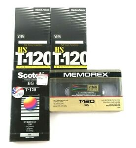 Lot-of-4-T-120-Blank-VHS-Video-Tapes-Radio-Shack-Scotch-amp-Memorex-New-amp-Sealed