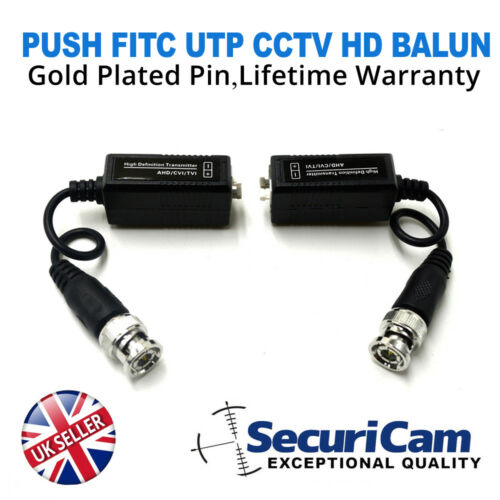 BNC to RJ45 UTP Cat5e CAT6 Passive Video Balun With Power Connector UK STOCK
