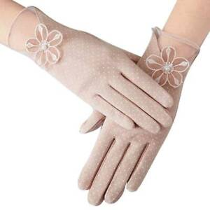 Summer-Women-Solid-Sun-Uv-Protection-Gloves-Cotton-Lace-Anti-Skid-Driving-Chic