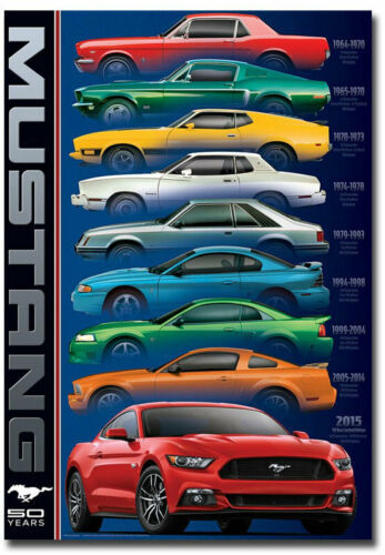 """50 Year Ford Mustang 1964-2015 Fridge Magnet Size 2.5/"""" x 3.5/"""""""