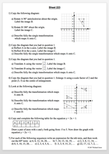 455 Maths Revision Worksheets for ages 11 - 16, broadly in order of difficulty