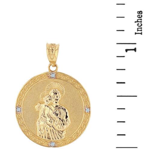 """Details about  /14k Yellow Gold Saint Joseph Diamonds 1/"""" Engravable Round Metal Pendant Necklace"""