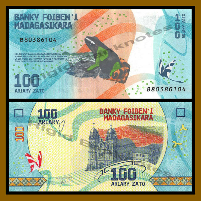 Madagascar 100 Ariary, 2017 P-New Frog Colorful Unc