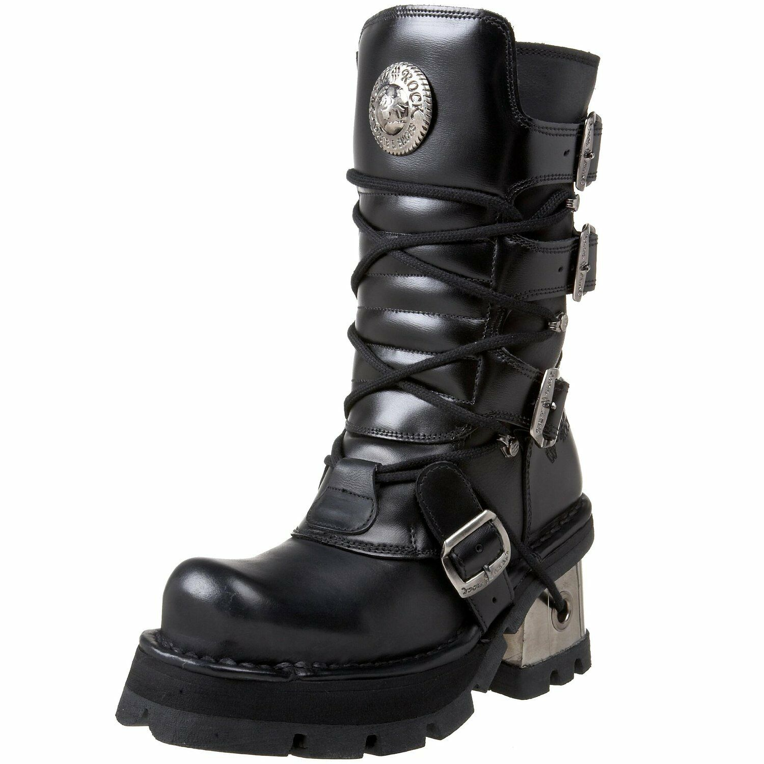 Newrock New Rock 373 S3 Ladies Metallic Boots Black Leather Goth Biker Emo  373