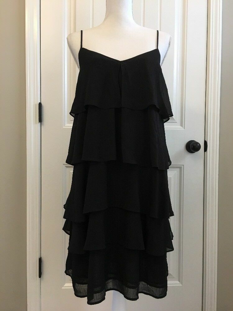 New Madewell Ruffle-tier Cami Dress schwarz Sz L H3641