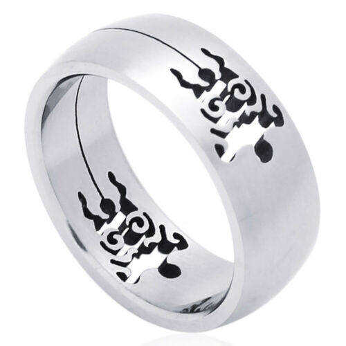 Hommes Femmes Mode acier inoxydable 8 mm Cut-Out Turtle Wedding Band Ring