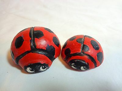 LADYBUG FIGURINE Set of 2 Mini Ceramic Hand Painted Vintage 1973 Red Black