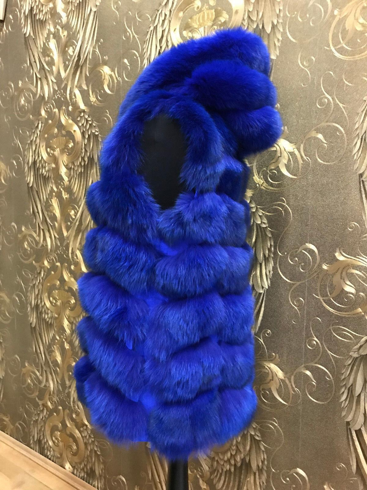 FUCHSWESTE PELZ WESTE blue FOX FUR VEST blueE FUCHS FUCHS FUCHS WESTE FELL WESTE MIT KAPUZE 6c6919