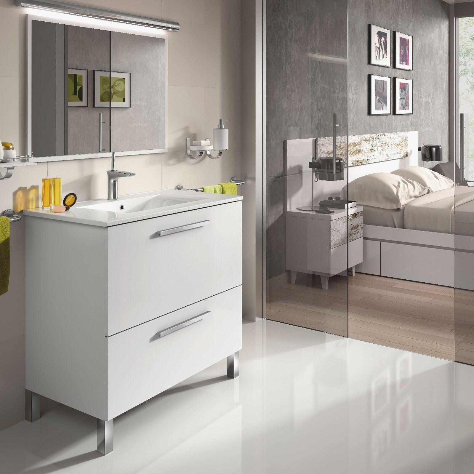 Mueble de baño con espejo y lavamanos, todo en Blanco 80x80x45cm