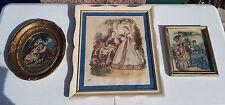 Vintage Framed Victorian 2 Prints La Mode Illustree & 1 Needlepoint Picture Lot
