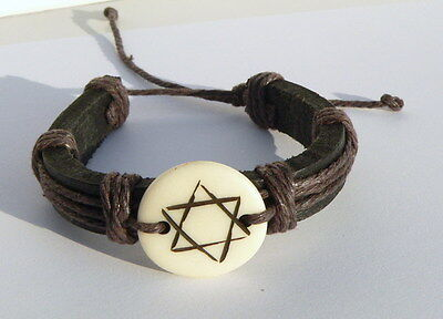 Carved Star of David Leather Bracelet Surfers Band Judaica Israel Kabbalah Charm