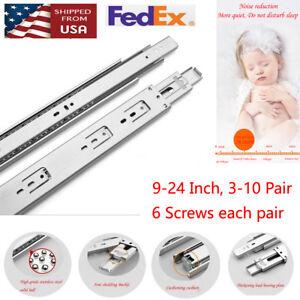 3-10-Pair-Full-Extension-Ball-Bearing-Drawer-Slides-9-034-24-034-60-100-LB-With-Screws