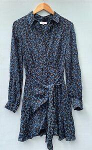 Parker Dress 2 Blue Tie Front Floral Long Sleeve Flowy XS Silk Blend