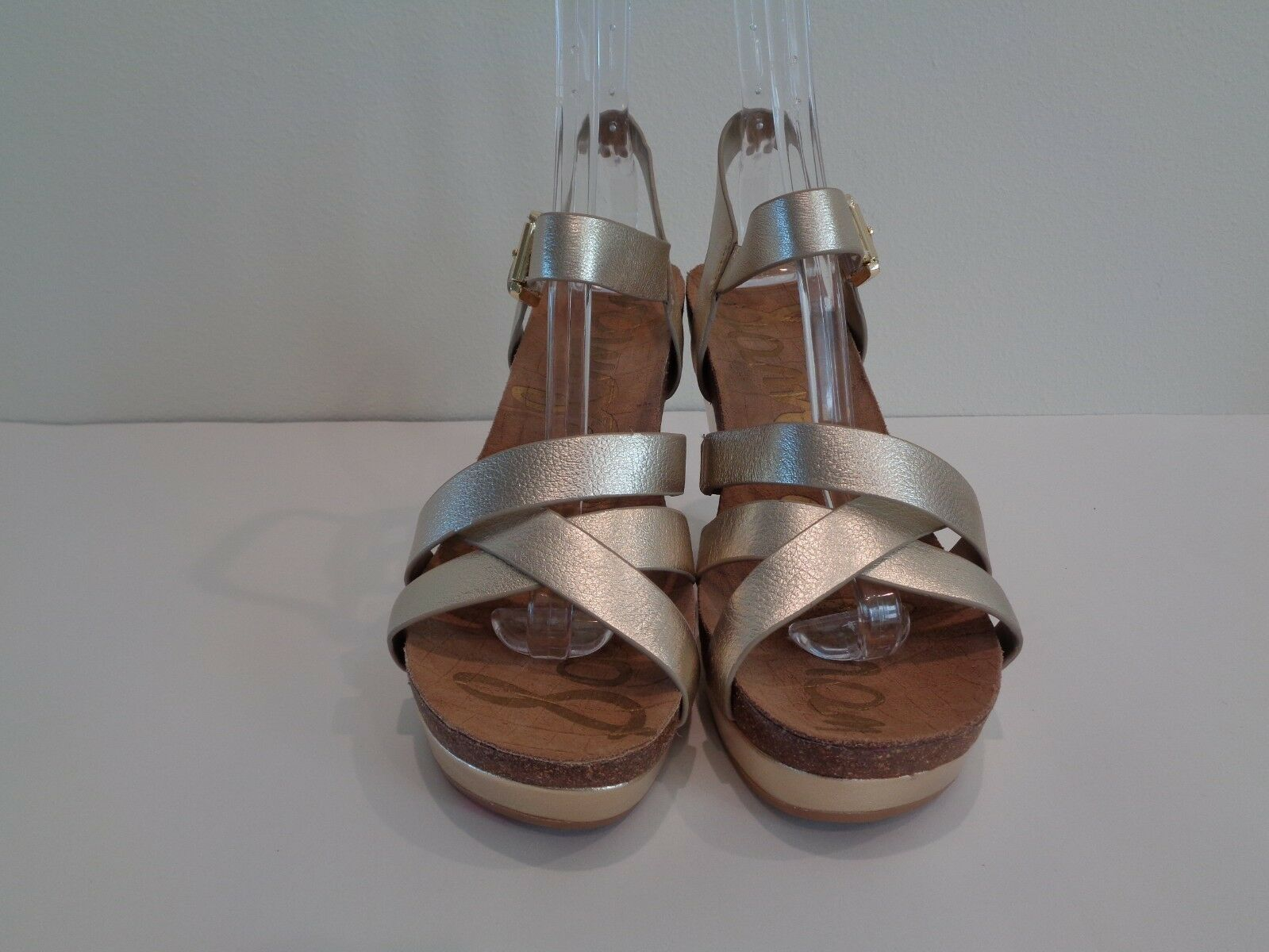 Sam Edelman Size 9.5 9.5 9.5 M NELSON Jute gold Leather Wedge Sandals New Womens shoes 8f9417