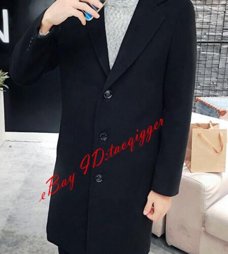 Men/'s Korean 3 Buttons Wool Blend Trench Long Coat Lapel Peacoat Outwear Jacket