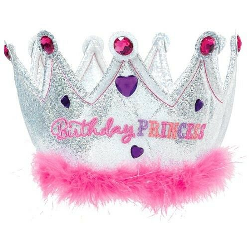 BIRTHDAY PRINCESS HOLOGRAPHIC FABRIC CROWN ~ Party Supplies Favor Accessory