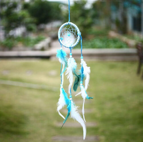 Small Blue and White Feather Dream Catcher Ideal For Car Review Mirrors
