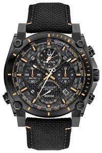 Bulova-Precisionist-Men-039-s-Quartz-Black-Nylon-Strap-46mm-Watch-98B318