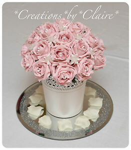 Image Is Loading Artificial Flower Wedding Table Centrepiece Decoration Vintage Pink