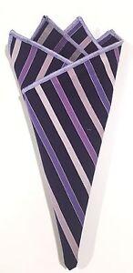 Pocket Square Striped Multi Color Purple Stitched Borders By Squaretrapny.com
