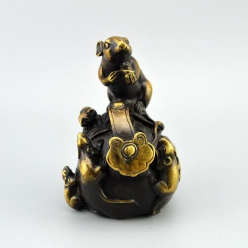 Chinese old collection handwork bronze Zodiac rat Ruyi statue