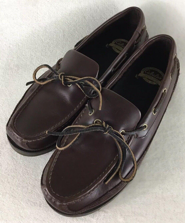 Cabela's Brown Leather Moc Toe Boat shoes Loafer Vibram Soles 82-2286 Men's 12D