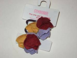 NWT Gymboree Autumn Highlands Felt Flower Ponytail Holder 2 Pack HTF