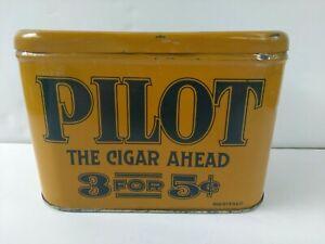RARE-ANTIQUE-VINTAGE-PILOT-CIGAR-HUMIDOR-TOBACCO-TIN-3-FOR-5-SMOKING-CIGARETTE