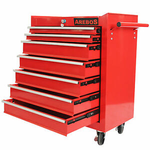Servante-Caisse-a-outils-d-atelier-7-tiroirs-tools-chest-chariot-rouge