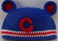 Custom Design Handmade Crochet Chicago Cubs Blue Baseball Infant Baby Hat