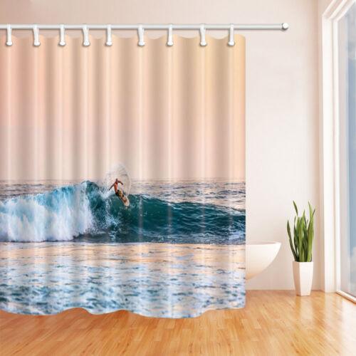 The Surfing Theme Waterproof Fabric Home Decor Shower Curtain Bathroom Mat