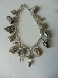 Schönes ,altes Armband , Silber , Bettelarmband mit 13 schönen Anhänger ,Charms