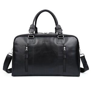 Black-Mens-Large-Soft-Nappa-Leather-Duffle-Gym-Shoulder-Travel-Bags-Shoulder-Bag