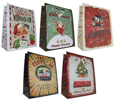 Geschenktüten Weihnachten 32x26x13 Weihnachtstüte Vintage Retro Tasche 22-0408-3