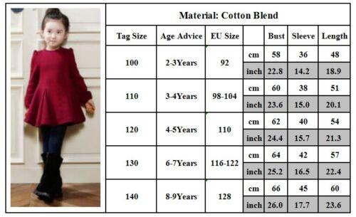 Kinder Baby Mädchen Tunika Freizeitkleid Langarm Winter Partykleid MiniKleid DE