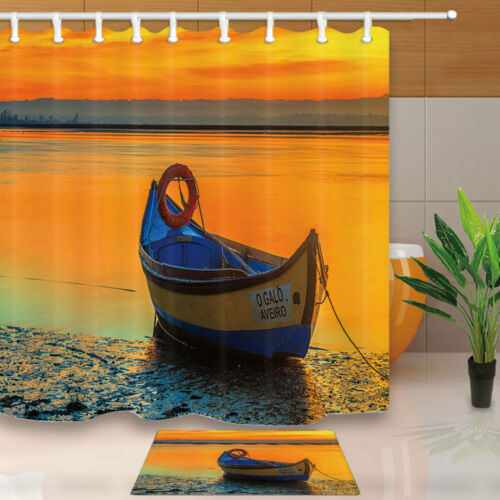 Boat On Seaside And Sunset View Bathroom Fabric Shower Curtain Set 71Inches